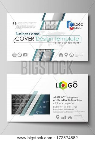 Business card templates. Easy editable layout, abstract vector design template. Abstract infinity background, 3d structure with rectangles forming illusion of depth and perspective.