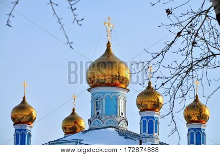 Golden domes of the church of the intercession. Kamensk-Uralsky Russia.