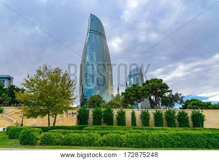 View On Flame Towers From Upland Park In Baku
