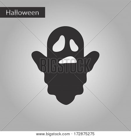 black and white style icon of Halloween ghost