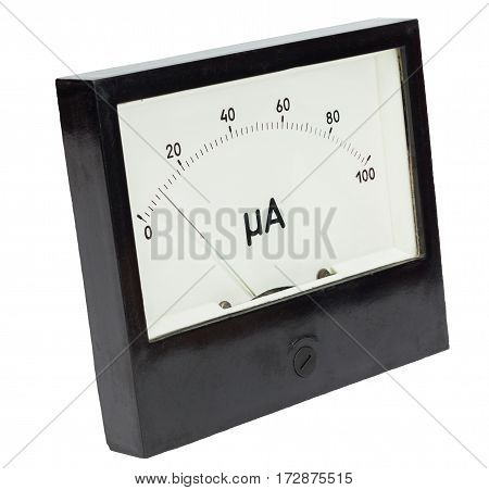 Black square analog ampermeter isolated on white background with 10 uA reading on scale.