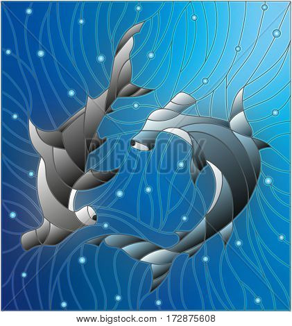 Illustration in the style of stained glass with two fish hammerheads on the background of water and air bubbles