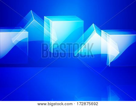 3D Illustration of Glass Cubes with Reflection Over Blue Background