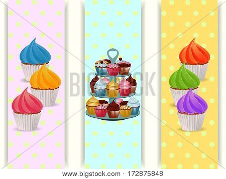 Three Banners With Cupcakes and Cupcake Stand