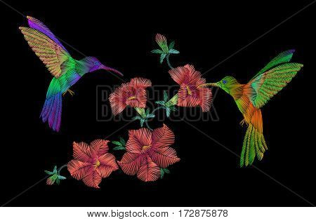 Embroidery Klobri Birds Fly Over Petunias Flowers