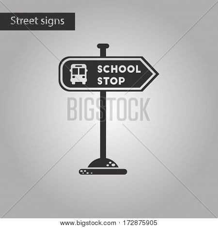 black and white style icon of school stop sign
