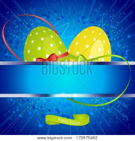 Festive Easter Blue Background with Eggs and Copy Space Banner