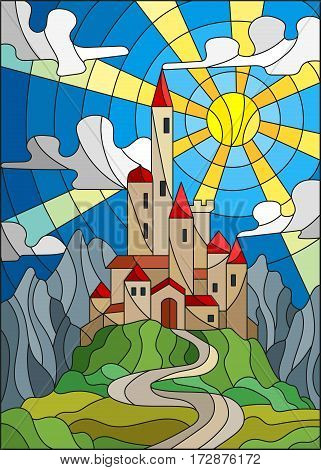 Illustration in stained glass style landscape with old castle on the background of sky sun and mountains