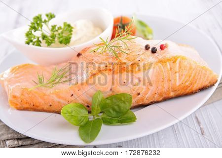 grilled salmon fillet and sauce