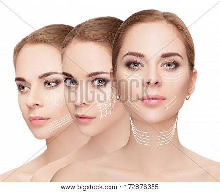 woman faces with arrows over white background. Face lifting concept. Plastic surgery treatment, medicine