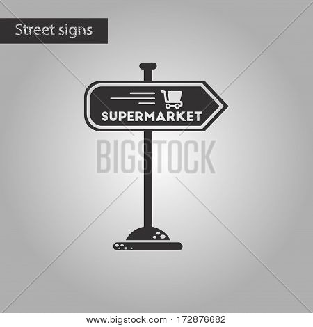 black and white style icon of supermarket sign