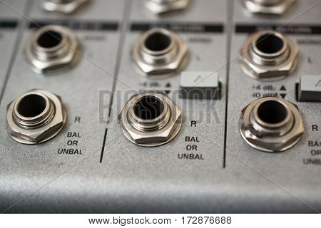 Input Sockets of the Audio Mixer. Close-Up View.