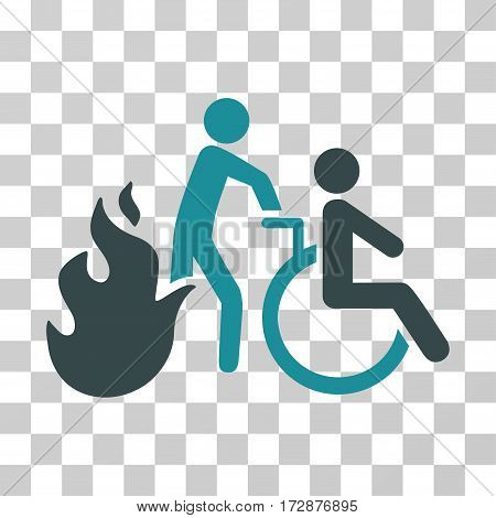 Fire Patient Evacuation vector pictogram. Illustration style is flat iconic bicolor soft blue symbol on a transparent background.