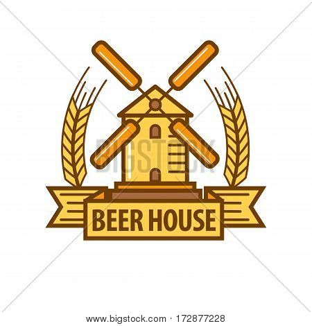 Beer logo of wind mill and wheat ears. Vector template for brewery bar or beerhouse pub sign or alcohol drink product label tag