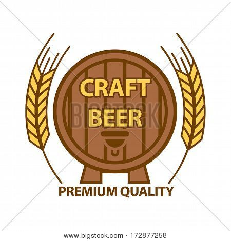 Craft beer with premium quality barrel logotype on white. Vector illustration in flat design of round wooden beer barrel logo signs with two wheat sticks. Wooden barrel label with inscriptions