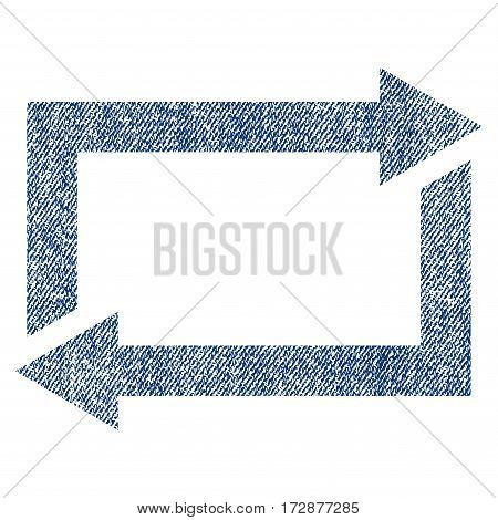Exchange Arrows vector textured icon for overlay watermark stamps. Blue jeans fabric vectorized texture. Symbol with scratched design. Blue ink rubber seal stamp with fiber textile structure.