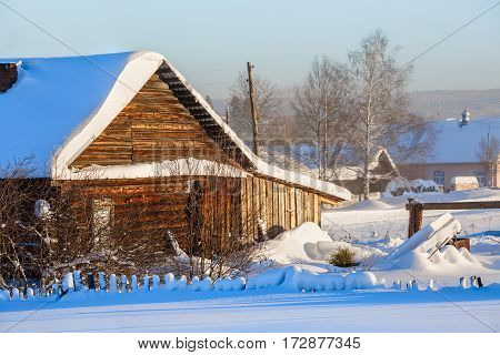 Russian old-believer village Visim in winter situated in the low Middle Ural Mountains of Sverdlovsk region, Russia
