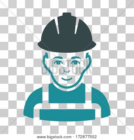 Glad Worker vector icon. Illustration style is flat iconic bicolor soft blue symbol on a transparent background.