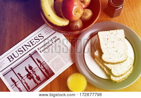 Breakfast Morning Bread Fruits Newspaper