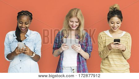 Friends Using Tablet Technology Phone