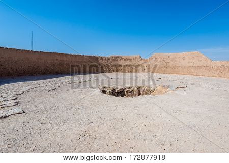 Central pit of Zoroastrian Tower of Silence in Yazd city Iran