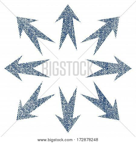 Expand Arrows vector textured icon for overlay watermark stamps. Blue jeans fabric vectorized texture. Symbol with dust design. Blue ink rubber seal stamp with fiber textile structure.