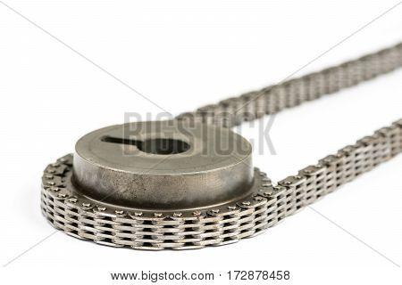 Closeup Macro Used Oiled Timing Chain With Cam Shaft