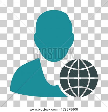 Global Manager vector icon. Illustration style is flat iconic bicolor soft blue symbol on a transparent background.