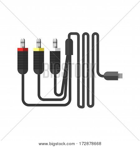 Wire cables flat collection isolated on white. Vector illustration of black wire with one usb and three other elements to input in technical devices. LAN network connection cables isolated on white.