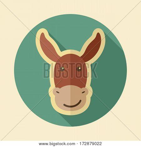 Donkey flat icon. Animal head vector illustration eps 10