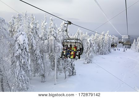 URAL MOUNTAINS/ RUSSIA - JANUARY 11, 2015. Chairlift in the ski resort