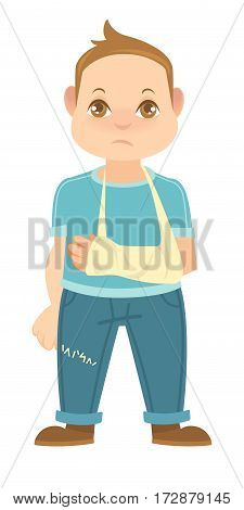 Child with broken arm isolated on white. Boy has hand in plaster cast. Little man with arm put in gypsum plaster. Schoolboy in blue t-shirt and trousers vector illustration in flat style design