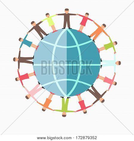 Children care and protection charity symbol or logo of world globe and people hand in hand. Vector flat icon template for volunteer center, mercy organization or public fund