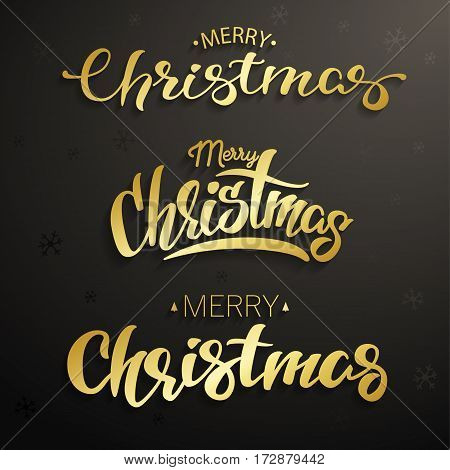 Merry Christmas inscriptions. Set gold lettering vector illustration