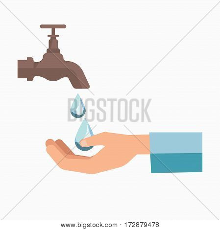 Water scarcity charity symbol or logo for people suffering fresh water shortage or lack. Hands saving drops from tap vector template icon for volunteer help and aid center