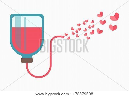 Blood donation logotype sign isolated on white. Medical dropper contains blood with pipe that leads to many small hearts. Life saves concept, help sick people. Isolated dropper with blood icon