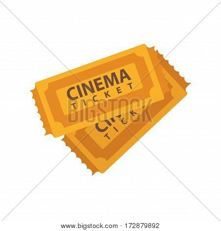Two cinema tickets emblems isolated on white. Paper tickets for watching films and movies in cinemas. Vector illustration of two brown vintage movie tickets in flat design isolated on white.
