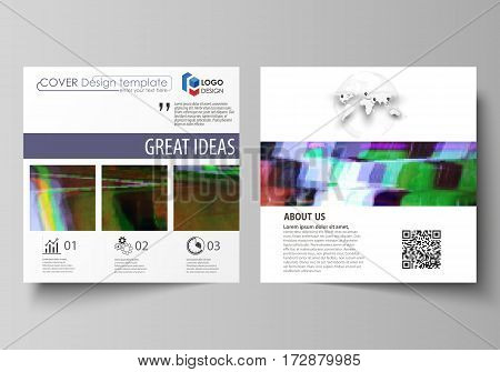 Business templates for square design brochure, magazine, flyer, booklet or annual report. Leaflet cover, abstract flat layout, easy editable vector. Glitched background made of colorful pixel mosaic. Digital decay, signal error, television fail.