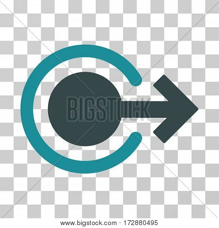 Logout vector pictogram. Illustration style is flat iconic bicolor soft blue symbol on a transparent background.