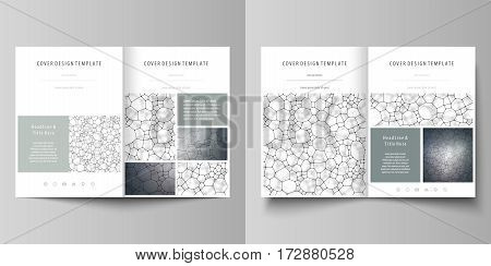Business templates for bi fold brochure, magazine, flyer, booklet or annual report. Cover design template, easy editable vector, abstract flat layout in A4 size. Chemistry pattern, molecular texture, polygonal molecule structure, cell. Medicine, science,