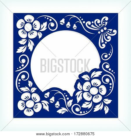 Stencil template panel frame with flowers and butterflies. May be used for laser cutting. Suitable for paper cards design elements scrapbooking stencil. Ratio 1:1. Vector illustration.