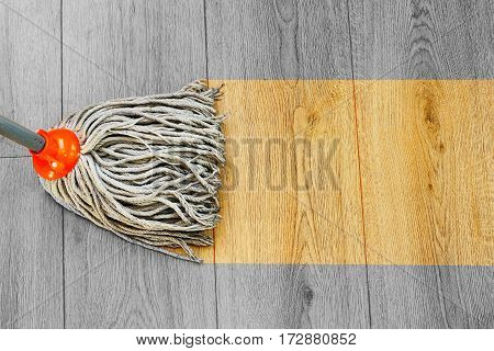 process of washing dust on wooden floor with mop