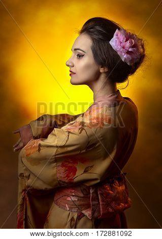 Young Beautiful Woman In Japanese Kimono