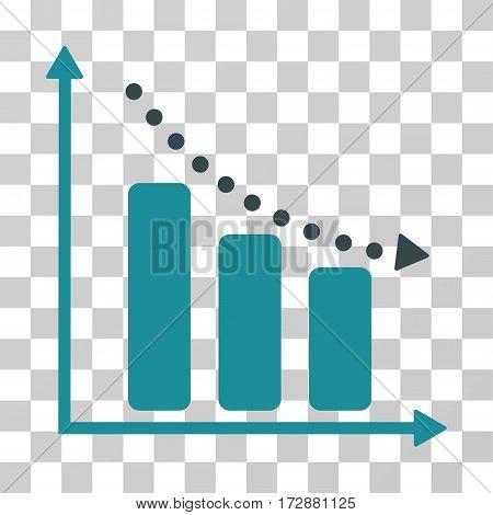 Negative Trend vector pictogram. Illustration style is flat iconic bicolor soft blue symbol on a transparent background.