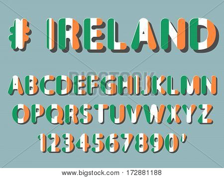 flat vector rounded font alphabet letters and numerals with shadow and flag pattern of Ireland to headline of web banner poster card label