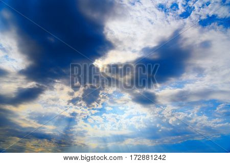 Sky With Clouds And Sun Rays