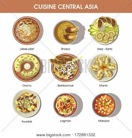 Central Asia food cuisine for restaurant menu. Asian traditional meal dishes of Uzbek pilaf rice, shorpa meat bouillon, kazy and karta delicatessen, manty dumplings and lagman noodles. Vector icons