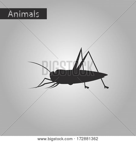 black and white style icon of grasshopper