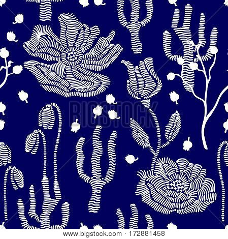 Stylized hand drawn elements. 1950s-1960s motifs. Retro textile design collection.