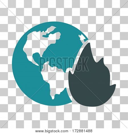 Planet Flame vector pictograph. Illustration style is flat iconic bicolor soft blue symbol on a transparent background.